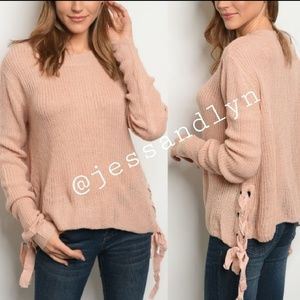 Sweaters - 🆕ELLY Light Rose Sweater with side ties